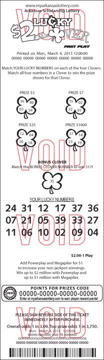 $2 Lucky Clover | Arkansas Scholarship Lottery
