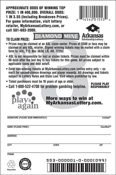Diamond Mine - Game No. 553 - Back