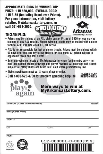 $100,000 Money Game - Game No. 612