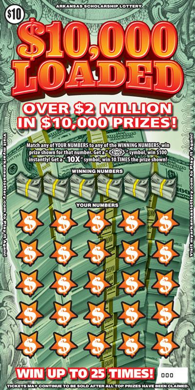 Arkansas Lottery Instant Ticket - $10,000 Loaded