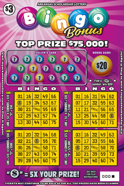 Arkansas Lottery Instant Ticket - Bingo Bonus