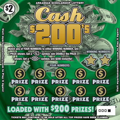 Arkansas Lottery Instant Ticket - Cash $200's