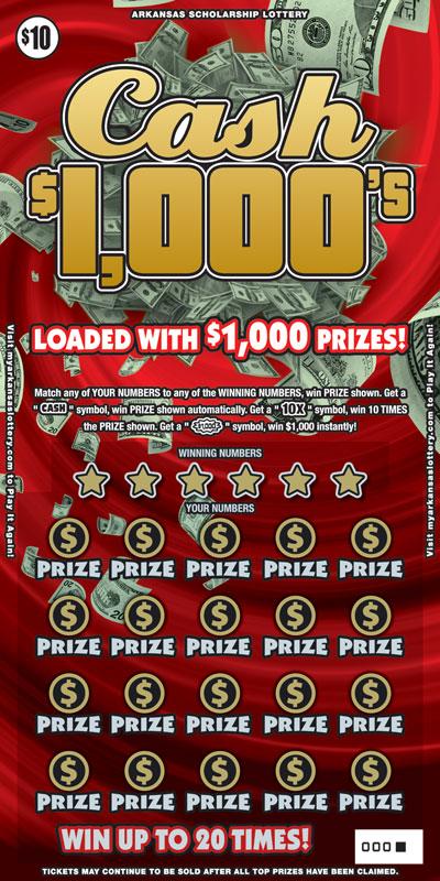 Arkansas Lottery Instant Ticket - Cash $1000's