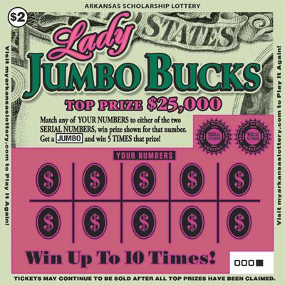 Arkansas Lottery Instant Ticket - Lady Jumbo Bucks